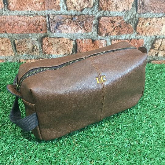 a8ea4b6cae The Perry - Tan Monogrammed NuHide Wash Bag - The Cool Calm Collection