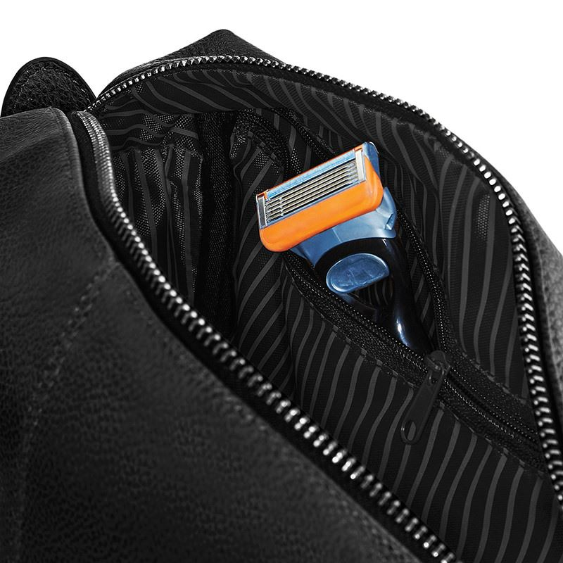 75bb1f7ecd The Perry - Black Monogrammed NuHide Wash Bag - The Cool Calm Collection